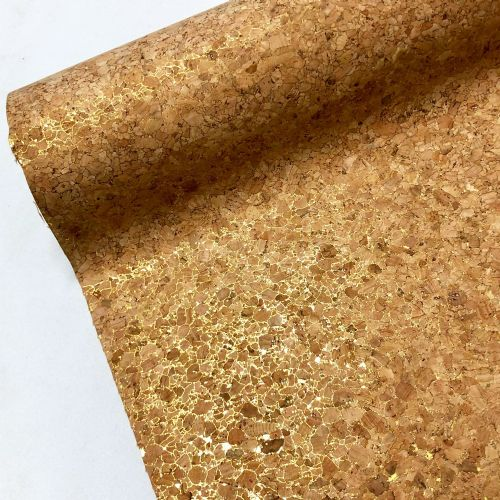 Natural Cork Vinyl Fabric - Gold Sparkle